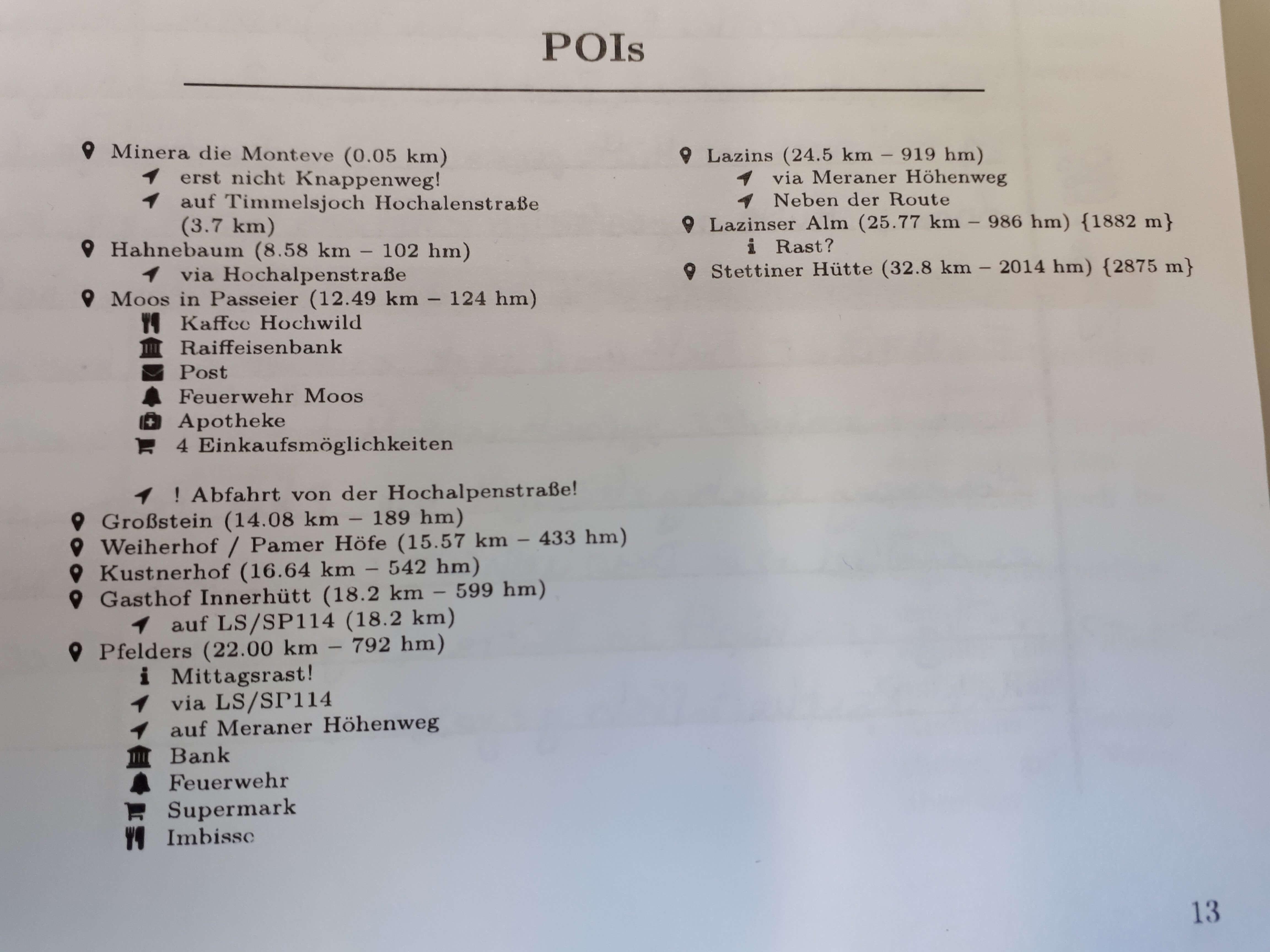POISsmit Höhenmetern im Roadbook